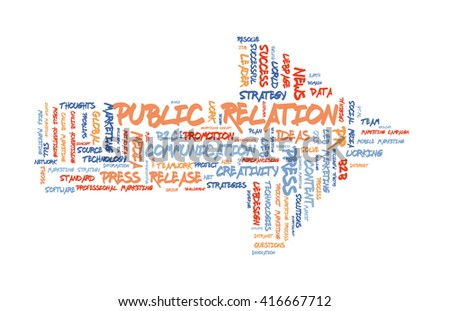 Public Relation word cloud shaped as a arrow to the right