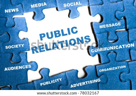 Public relations blue puzzle pieces assembled