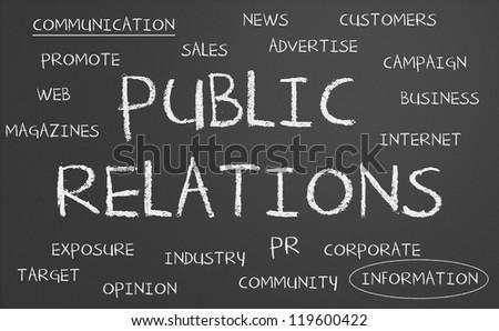 Public Relations word cloud written on a chalkboard - stock photo