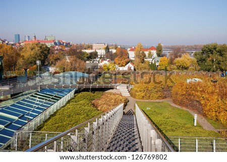 Public roof garden of Warsaw University Library in autumn, Poland. - stock photo