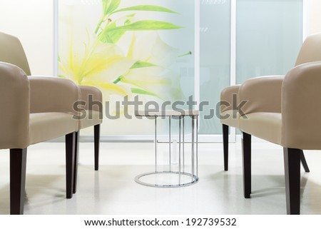 Public Seat on White Floor  - stock photo