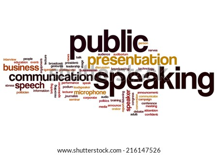 Public speaking concept word cloud background - stock photo