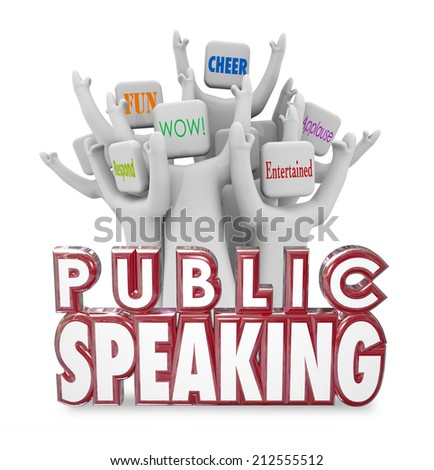 Public Speaking 3d words and cheering crowd enjoying a speech from a popular guest panelist or expert at a conference, meeting or special event