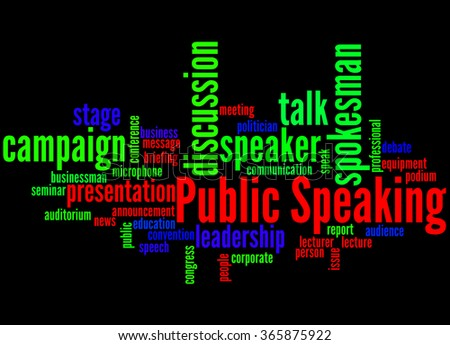Public Speaking, word cloud concept on black background. - stock photo
