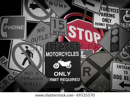 public street sign collection with black and white and red - stock photo