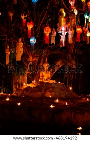 Public Temple at night, light candle