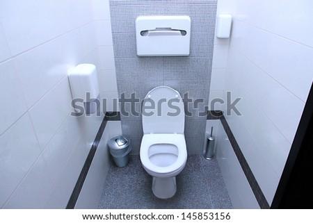 Public toilet cubicle - stock photo