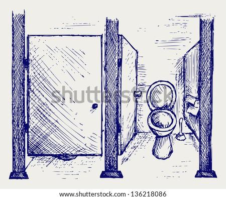 Public Toilet. Doodle style. Raster version - stock photo