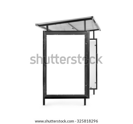 Public transport stop with place for banner isolated on white background. Clipping path, path for ad included.