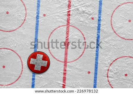 Puck lying on the ice hockey rink. Concept  - stock photo