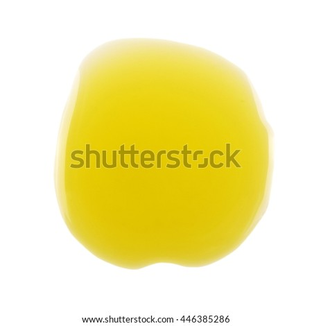 Puddle of olive oil isolated on white