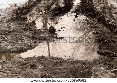 puddle on the road in winter - stock photo