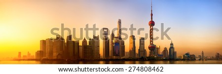 Pudong panorama at sunrise, Shanghai, China - stock photo