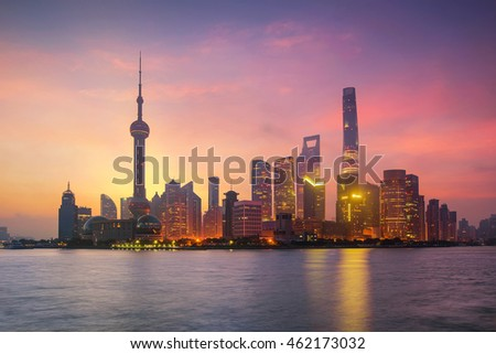 Pudong Skyline at sunrise, Shanghai, China. asia city scape