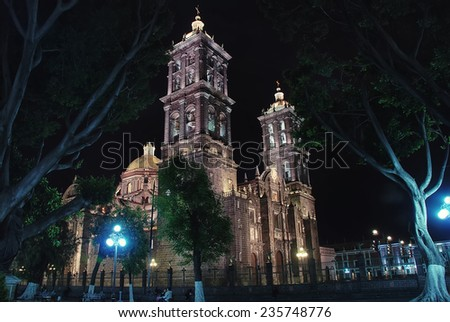 Puebla Cathedral at night - is a Roman Catholic colonial cathedral consecrated in 1649. It is a major landmark in the city - stock photo