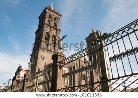 Puebla cathedral, Mexico - stock photo