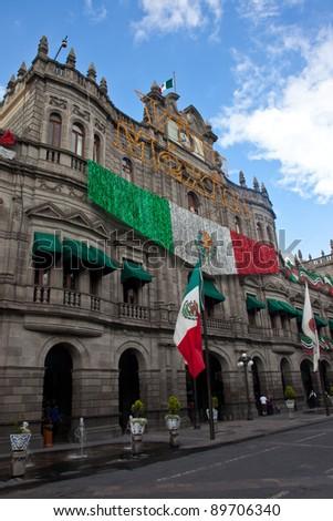 Puebla's Zocalo, Mexico. - stock photo