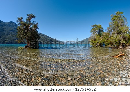Puelo lake on Puelo National Park, Chubut, Argentina - stock photo