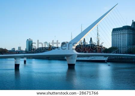 Puente De La Mujer Bridge Of The Women designed by Santiago Calatrava Buenos Aires Argentina - stock photo