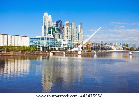 Puente de la Mujer (Womens Bridge), is a rotating footbridge for Dock 3 of the Puerto Madero district of Buenos Aires, Argentina