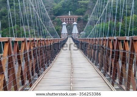 Puente de Occidente (Western Bridge) in Santa Fe de Antioquia, Colombia - stock photo