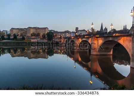 Puente de Piedra (Stone bridge) in Logrono, La Rioja region, Spain - stock photo