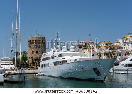 PUERTO BANUS ANDALUCIA/SPAIN - MAY 26 : View of the Harbour at Puerto Banus in Spain on May 26, 2016. Unidentified people