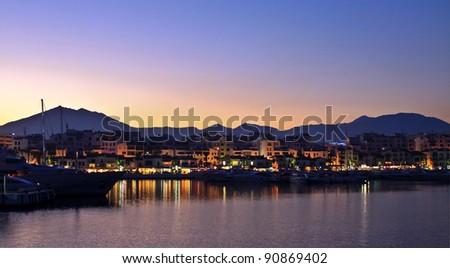 Puerto Banus at sunset - stock photo
