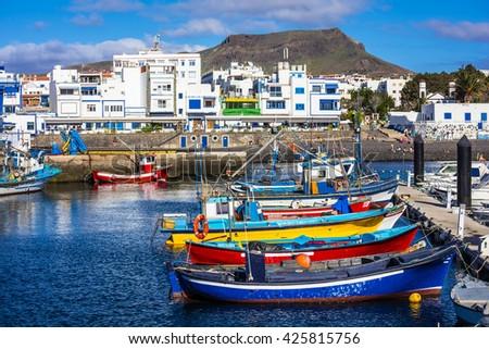 Puerto de las nieves - traditional fishing village in Gran Canaria - stock photo