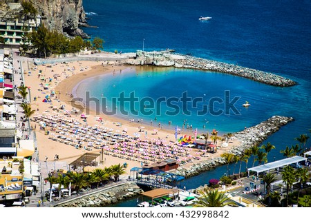 Puerto de Mogan town on the coast of Gran Canaria island, Spain. - stock photo
