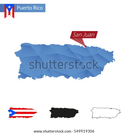 Puerto Rico blue Low Poly map with capital San Juan, four versions of map. Raster copy.