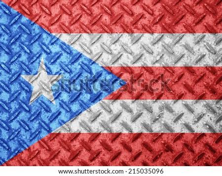Puerto Rico flag on grunge wall - stock photo