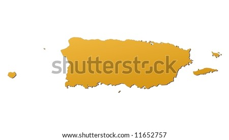 Puerto Rico map filled with orange gradient. Mercator projection.
