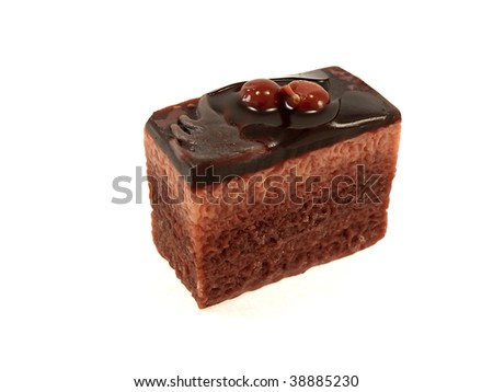 Puff cake with cherries isolated on a white background - stock photo