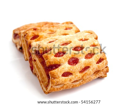 Puff cookies with jam on a white background - stock photo