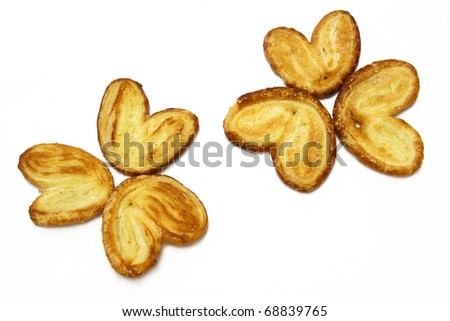 puff pastry cookies flowers - stock photo