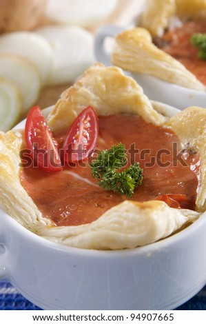 puff pastry pie with pork - stock photo