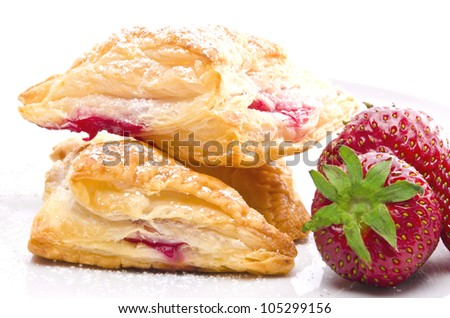 puff pastry pockets with strawberry filling - stock photo