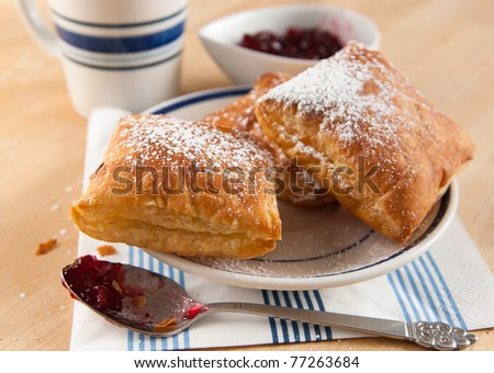 Puff Pastry Squares Served  with Jam and Tea