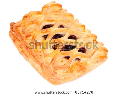 puff pie on a white background - stock photo