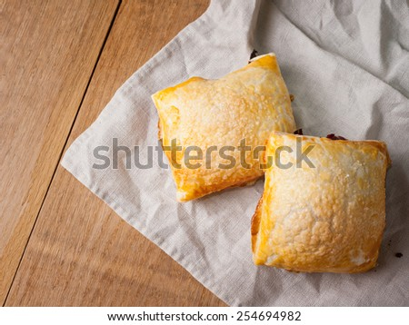Puff with berry filling - stock photo