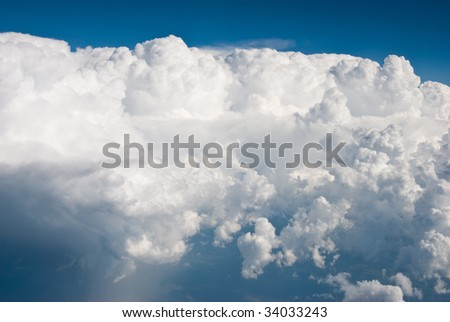 Puffy white clouds - stock photo