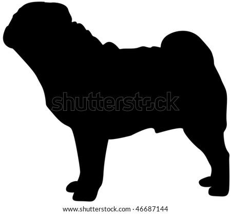 Pug silhouette - stock photo