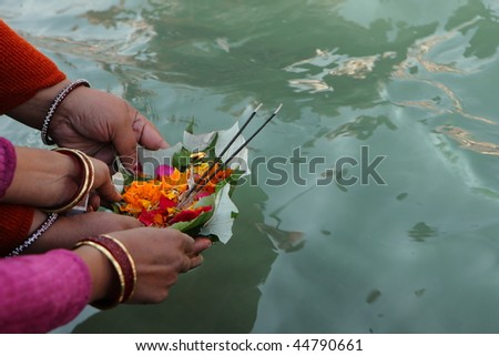 Puja ceremony on the banks of Ganga river in Haridwar, India - stock photo