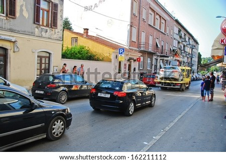 Pula, Croatia � August 8, 2013: Towing wrongly parked car