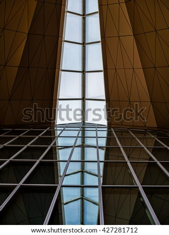 Pulkovo International Airport, Saint Petersburg, Russia - May 25, 2016: Modern architecture series. Roof and glass wall - stock photo