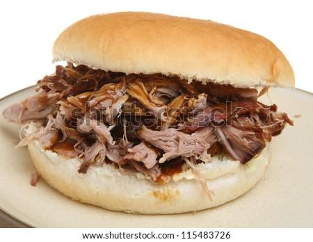 Pulled pork or hog roast sandwich - stock photo