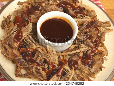 Pulled pork with bbq sauce - stock photo