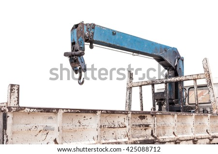 Pulley of old crane,Grunge  crane on Pickup Truck - stock photo