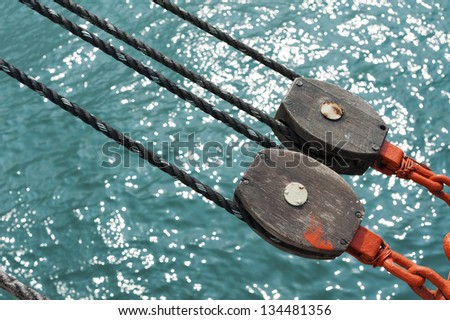 Pulley on Deck - stock photo